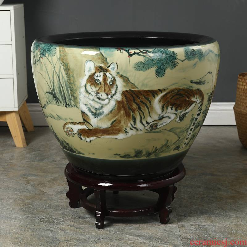 Jingdezhen ceramic aquarium large household basin bowl lotus cylinder water lily flower lotus lotus goldfish bowl sitting room the tortoise cylinder