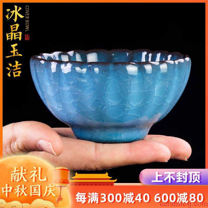 Artisan fairy calving kung fu tea cup single tea cup large ceramic checking household up, masters cup sample tea cup