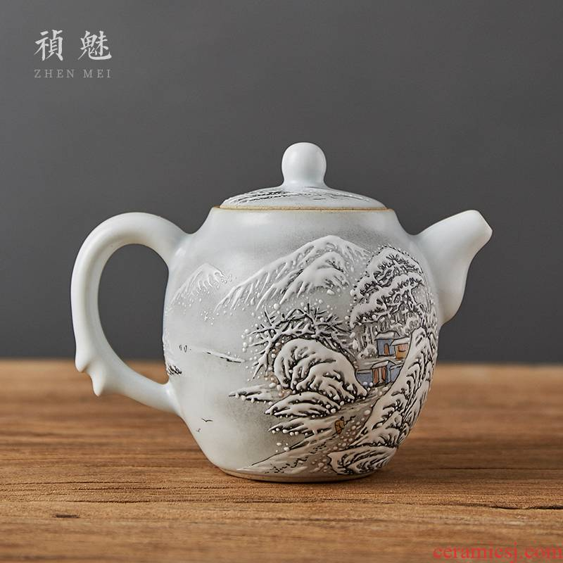 Shot incarnate the hand - made snow to open the slice your up with jingdezhen ceramic teapot kung fu tea set household filter teapot single pot