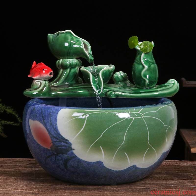 Jingdezhen ceramic water tank in plutus furnishing articles home sitting room humidifier tank accessories fish basin tortoise cylinder
