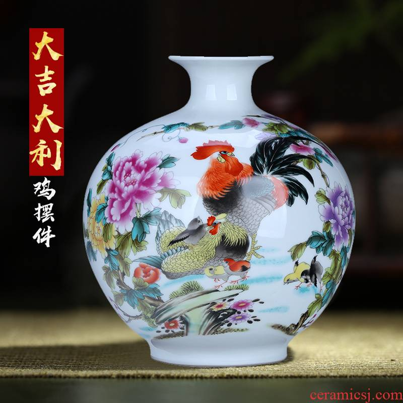 Jingdezhen ceramics vase red rooster furnishing articles pomegranate rich ancient frame decoration small expressions using bottles office crafts