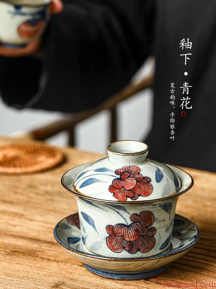 Jingdezhen blue and white pure manual only three tureen kung fu tea bowl of hot upset prevention hand - made ginkgo biloba tea set