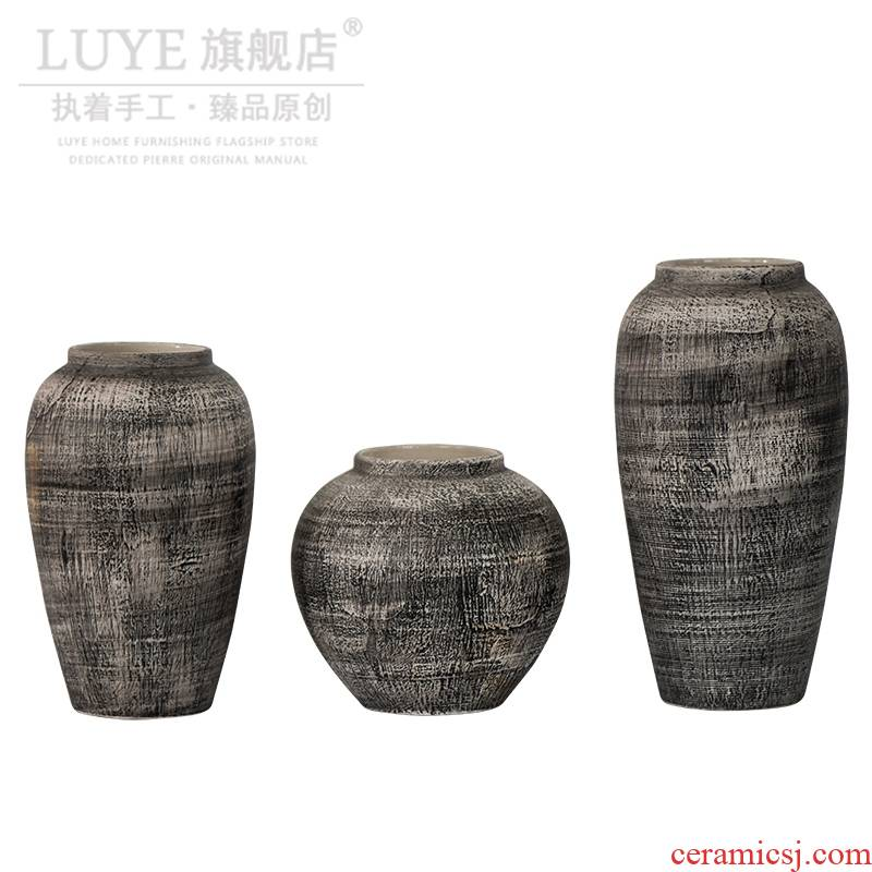 I4 restoring ancient ways of jingdezhen ceramic vases, dried flower earthenware jar furnishing articles sitting room do old coarse pot pottery decoration arranging flowers