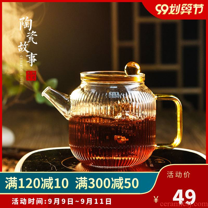 Ceramic story glass teapot high - temperature thickening web celebrity teapot tea separation Japanese flower teapot tea set