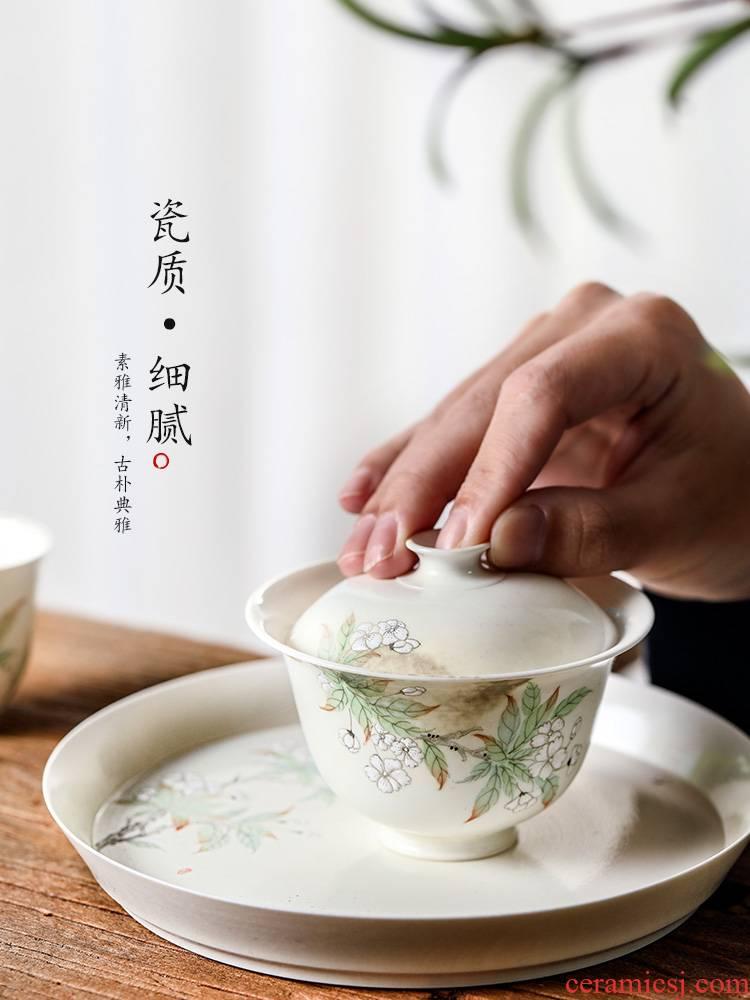 Jingdezhen tea ware kunfu tea tureen tea cup single pure manual variable hot tea bowl hand - made herbal tea