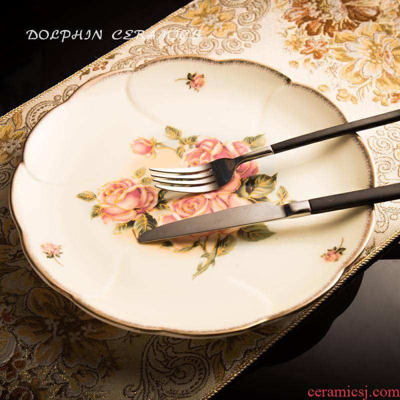 Korean golden rose ceramic ipads plate flat lotus expressions using shallow type disc sushi dessert dish dish gilded edge plates