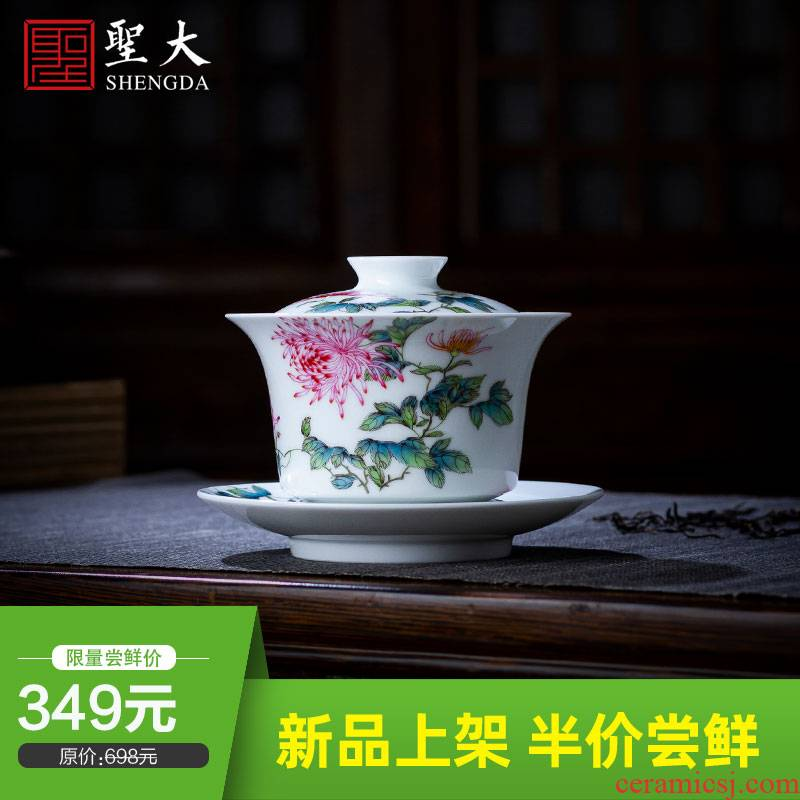 The big three tureen teacup only pure hand - made ceramic famille rose CongJuHua tea bowl jingdezhen all hand tea sets