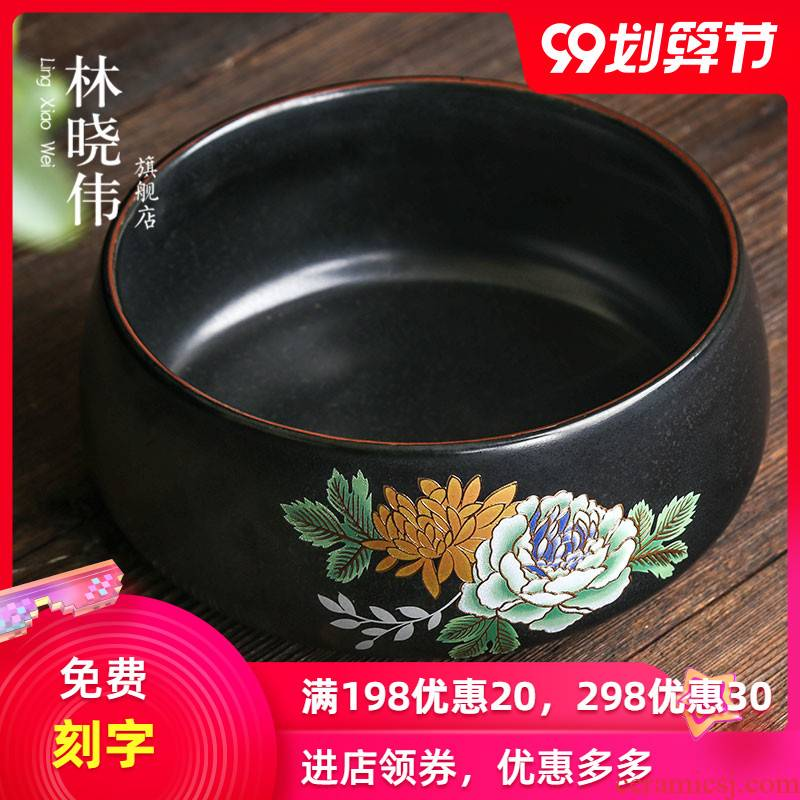 Grilled ceramic medium tea to wash the black pottery flower kung fu tea set with parts washing bowl washing the writing brush washer washing large tea spoon