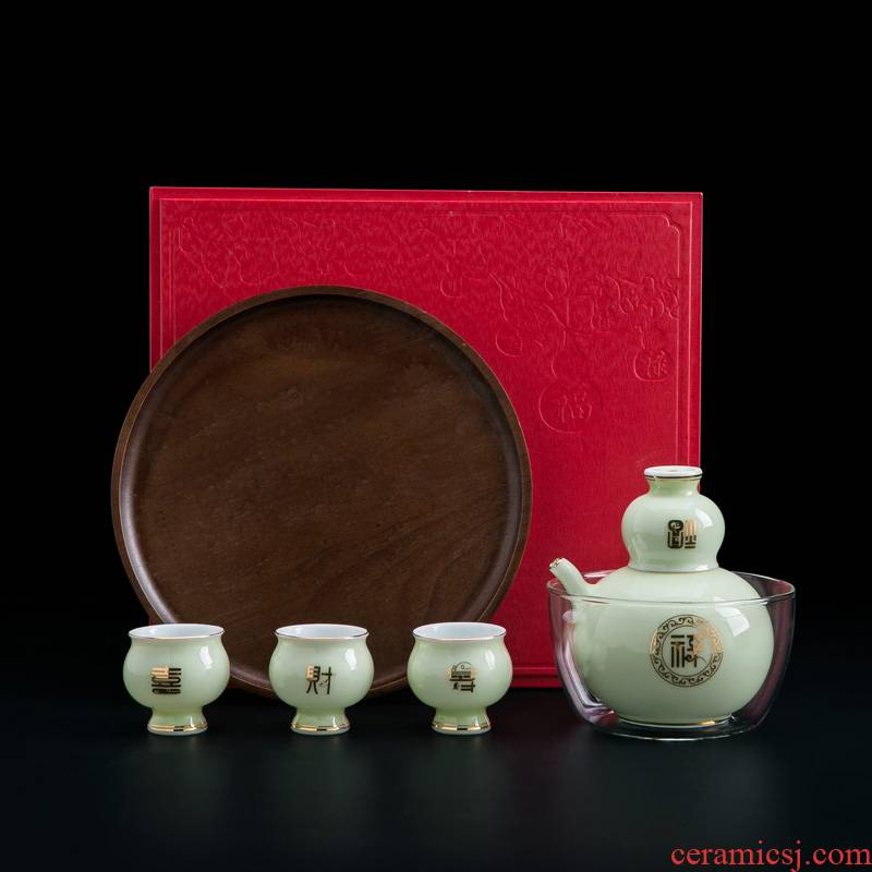 Jingdezhen ceramic wine pot liquor wine suits for Chinese wine glass temperature household gifts gift boxes with tray