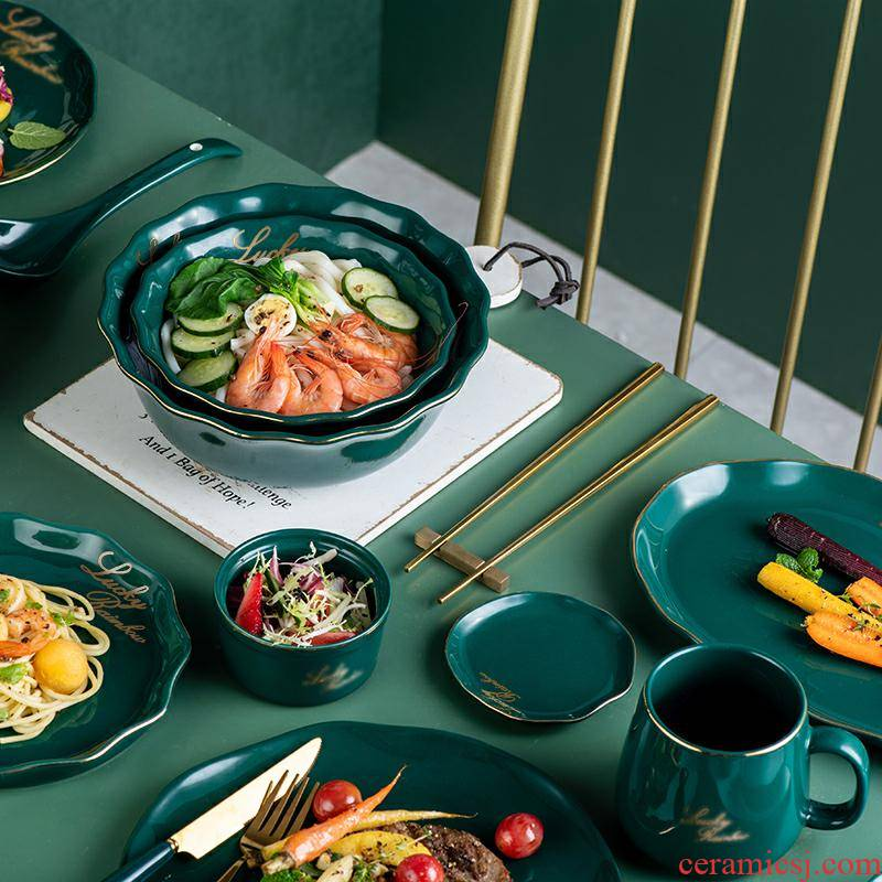 Creative dish dish dish of household ceramics steak dinner plate fish dish dish bowl bowl northern dishes suit