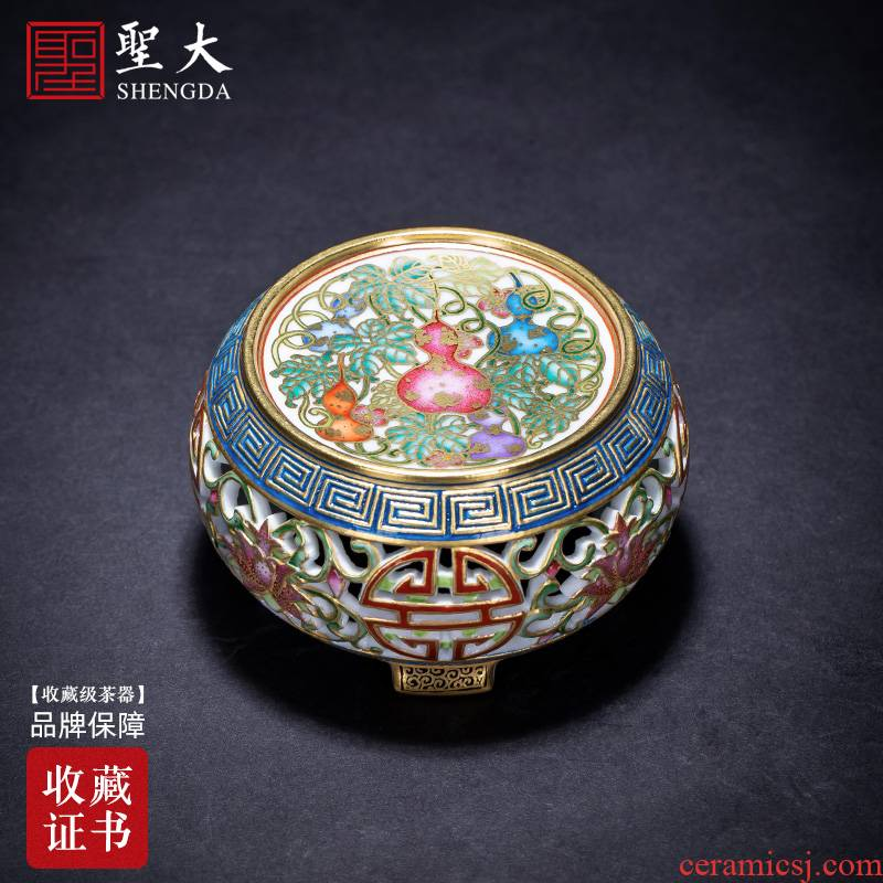 Holy big ceramic cover set hand colored enamel paint engraved look live over cover all hand of jingdezhen tea service
