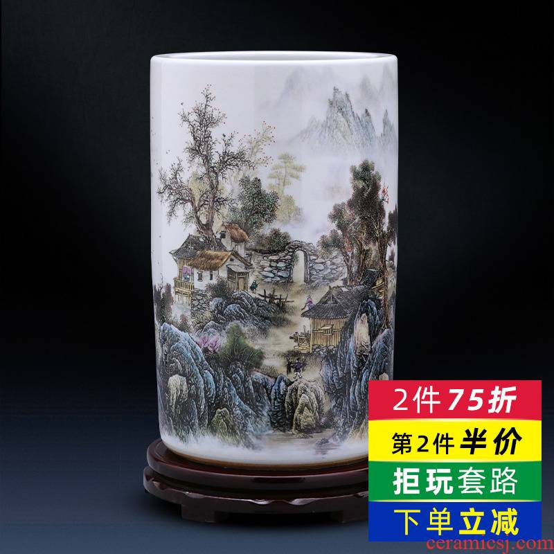 Jingdezhen ceramics vase furnishing articles calligraphy and painting scroll calligraphy and painting straight high ground large living room home decoration