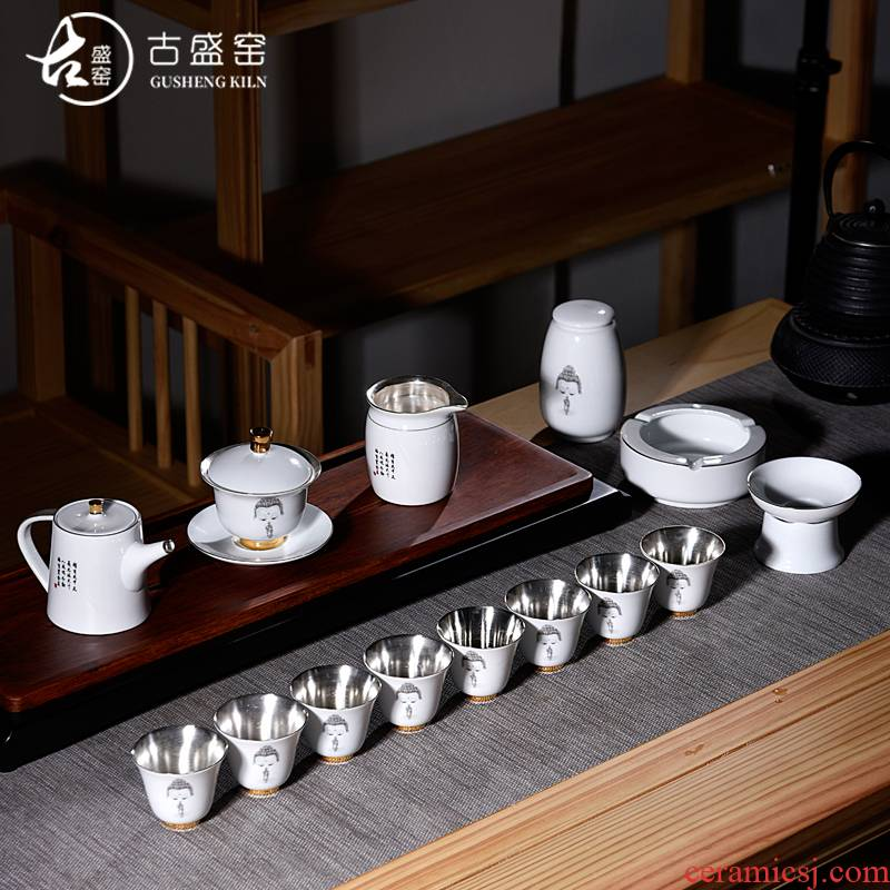 The ancient new large set of 6 people fine silver kung fu sheng up of a complete set of SAN fermin silver suit household porcelain coppering. As silver tureen teapots