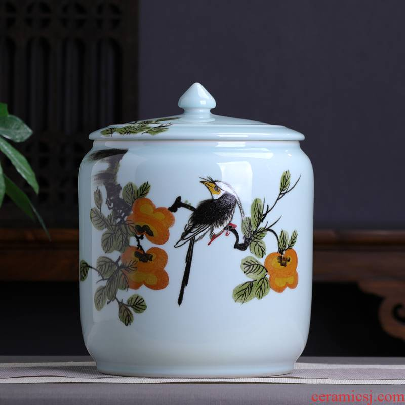 Hand - made big yards persimmon persimmon ruyi ceramic tea pot of tea cake storage tanks large household pu 'er tea urn wake POTS