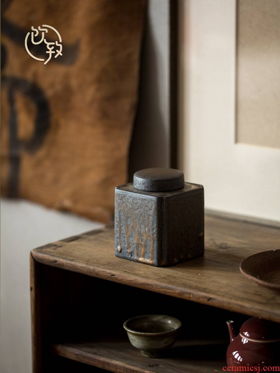 Ultimately responds to coarse pottery vintage Japanese small caddy fixings gold variable storage POTS trumpet tea warehouse, black iron wake POTS of gold