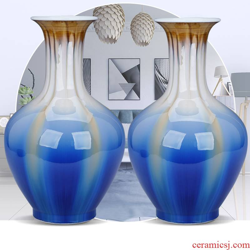 Jingdezhen ceramic dry flower vase furnishing articles contracted sitting room ark, American TV ark, creative decorative flower blue