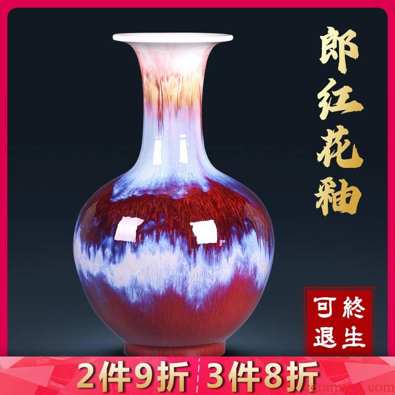 Jingdezhen ceramics vase ruby red glaze household porcelain of flower arranging large sitting room porch TV ark adornment furnishing articles