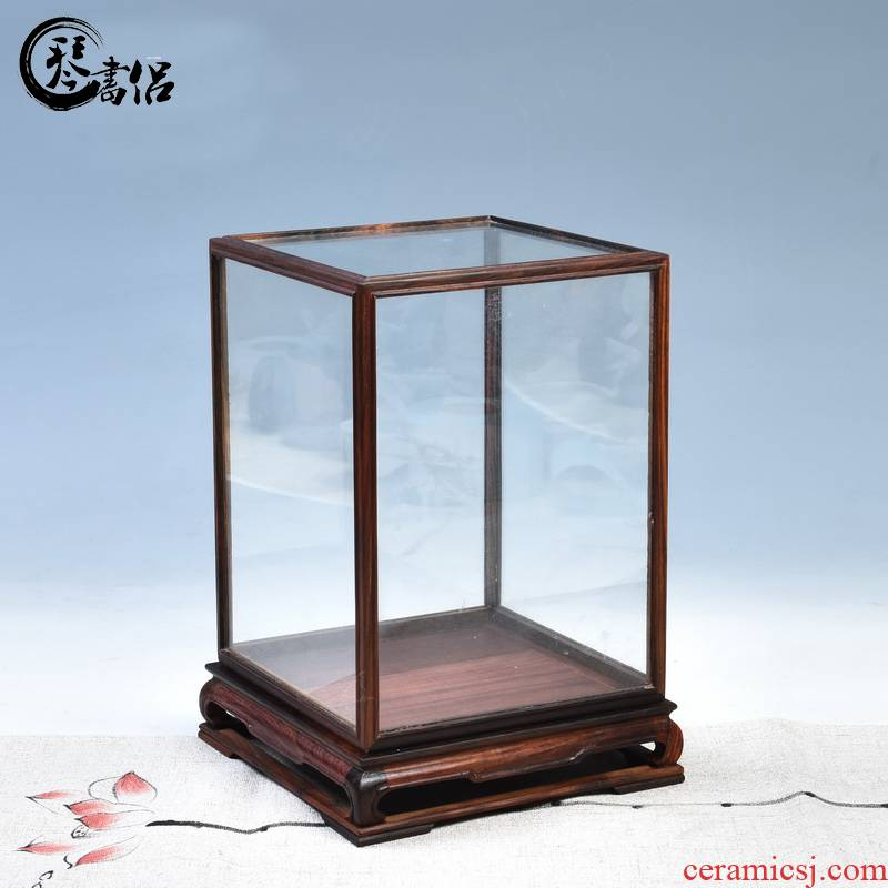 Pianology picking red acid branch treasure cage cover the glass base of real wood of Buddha jade show box dust cover can be customized