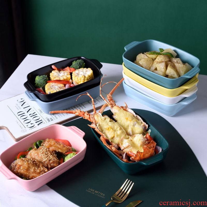 Ceramic tableware special baking oven microwave oven baked bread and butter roasted bowl home cheese dishes Chinese network red plate