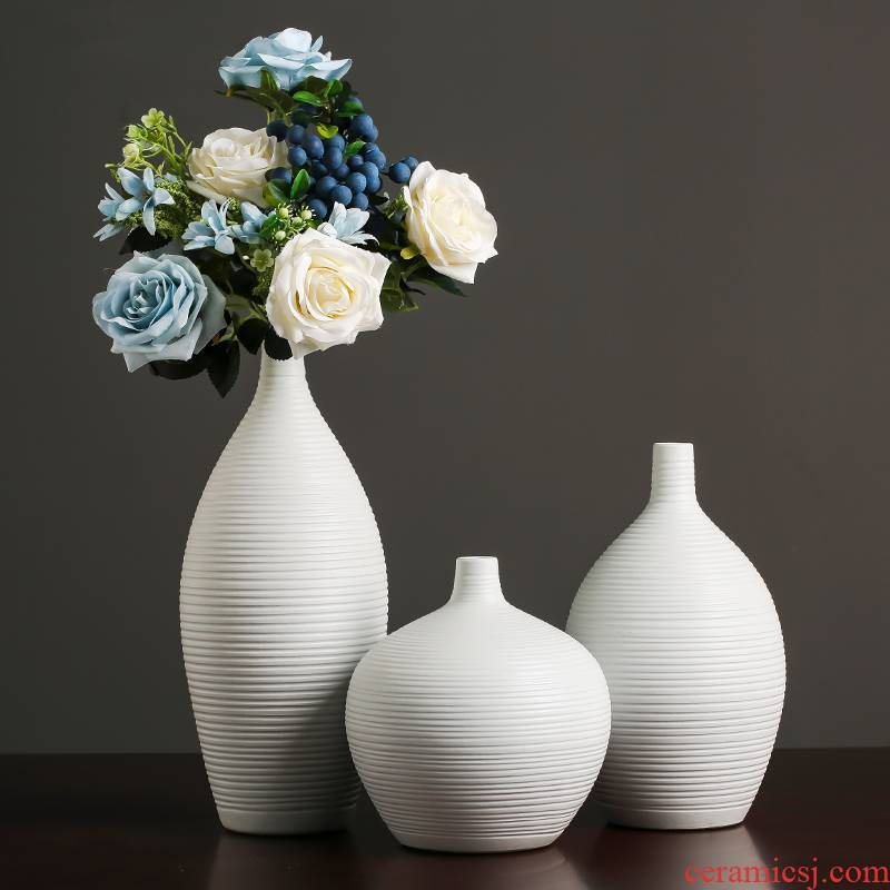 White ceramic vase furnishing articles modern creative simple Chinese flower arranging dried flowers sitting room home TV ark, adornment