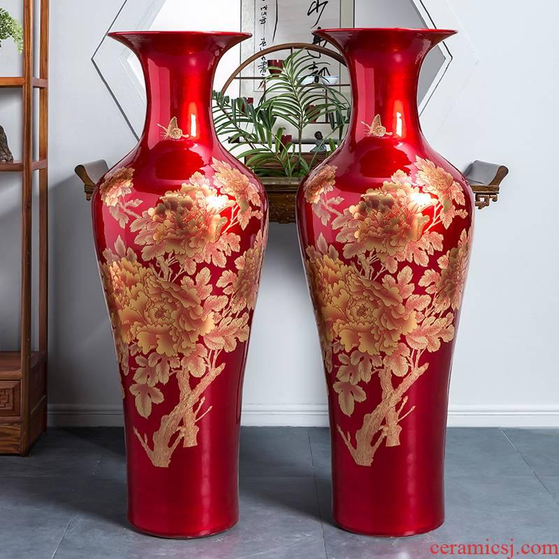 Jingdezhen ceramics China red crystal glaze peony vase of large sitting room place heavy large opening