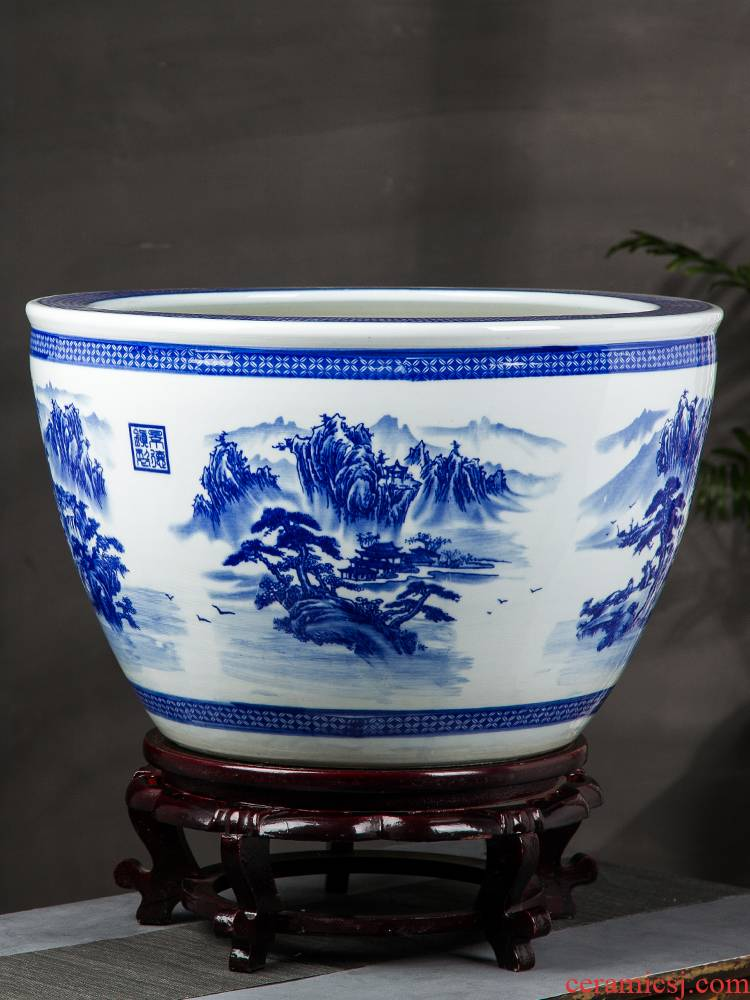 Jingdezhen blue and white ceramics oversized tank lotus garden trees flowers potted is suing ground feng shui furnishing articles