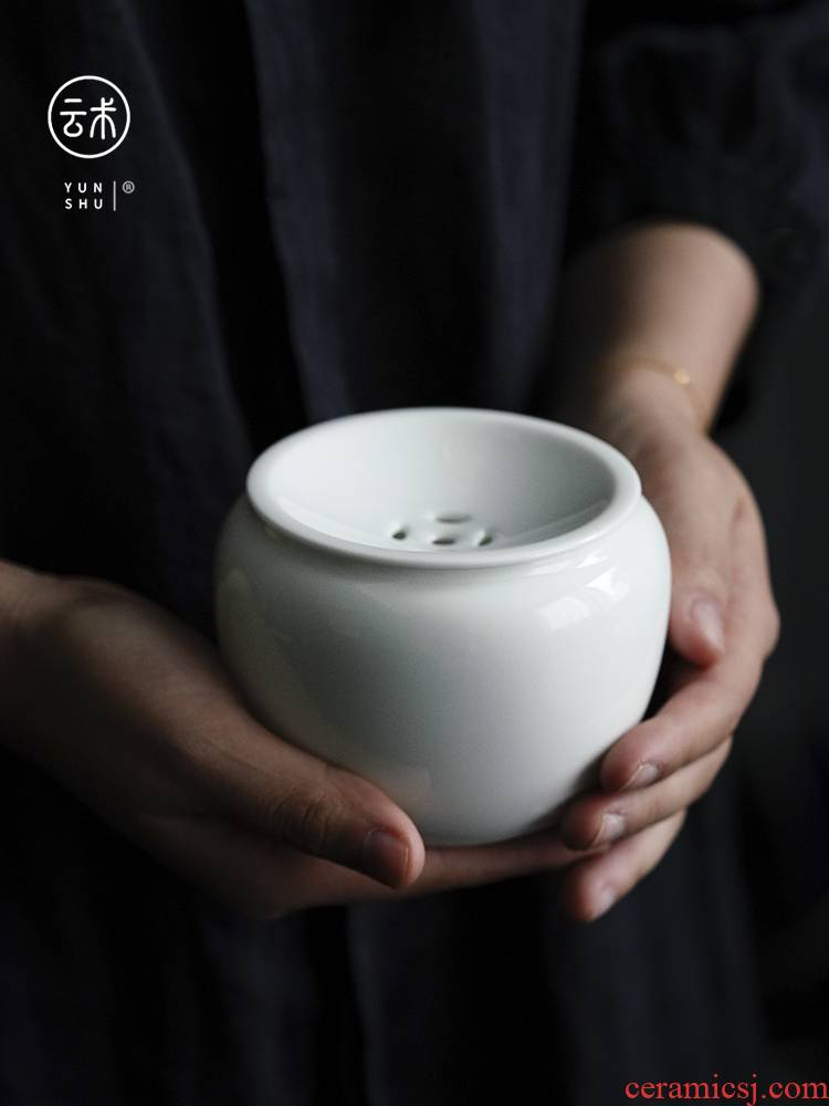 White porcelain copper build small water washing of jingdezhen ceramic device serving soup slag slag bucket water jar kunfu tea table accessories