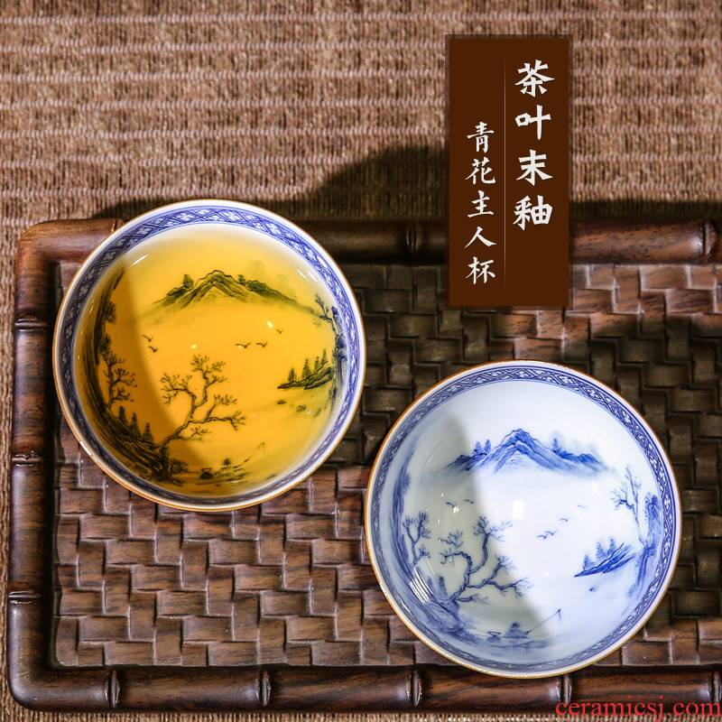 . Poly real boutique scene. The Hand - made master cup single cup sample tea cup jingdezhen blue and white porcelain tea set kung fu tea cups landscape