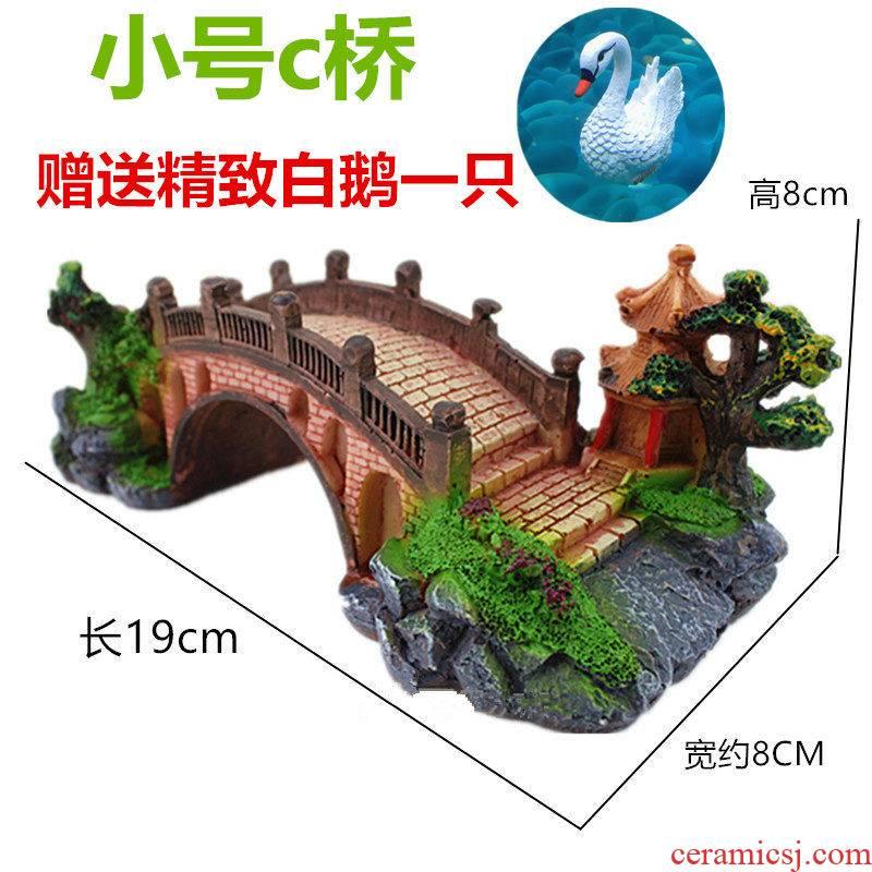Rockery pond furnishing articles aquatic aquarium goldfish bowl adornment miniascape ceramics ancient color big bridge