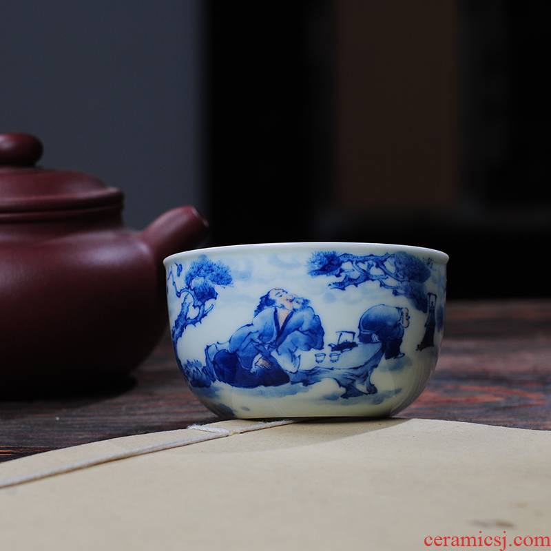 "【 9.11 】 jingdezhen blue and white ""boiled tea figure"" pure manual hand - made the master sample tea cup"