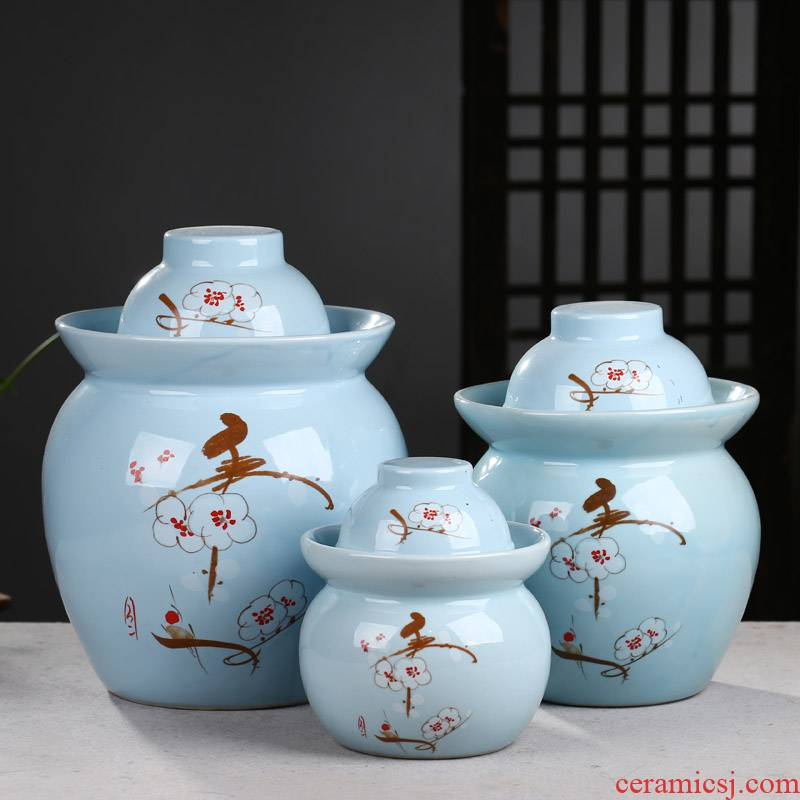 Jingdezhen ceramic pickle jar double cover kimchi household pickles cylinder seal pot salted egg wine altar bacon