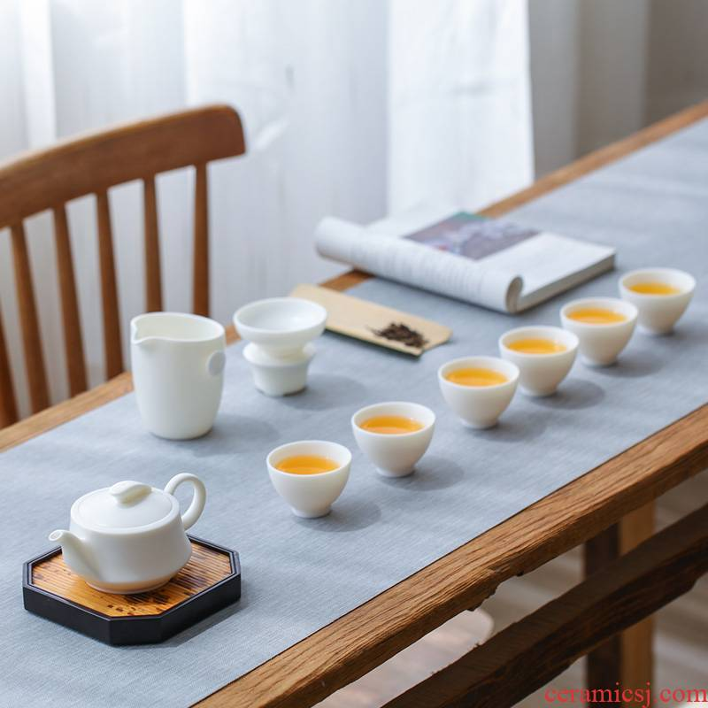 White porcelain touch the floor clearance 】 【 kung fu tea set home office teapot teacup of a complete set of gift boxes