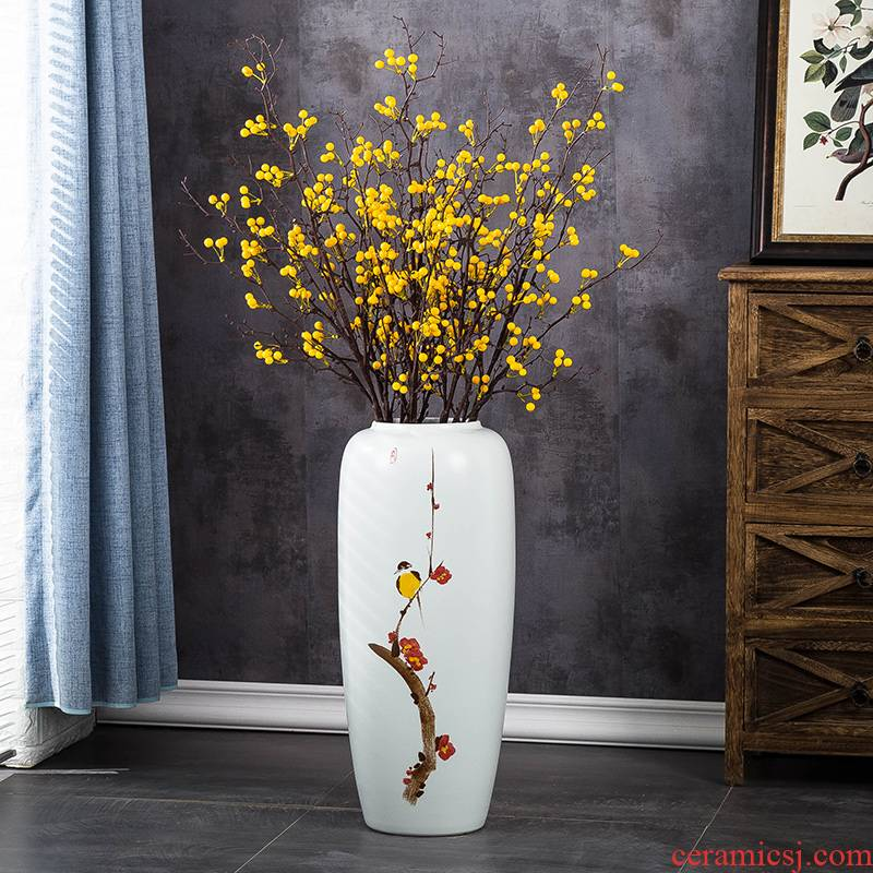 Jingdezhen ceramic hand - made ground vase European I and contracted sitting room TV cabinet dry flower arranging flowers, soft furnishing articles