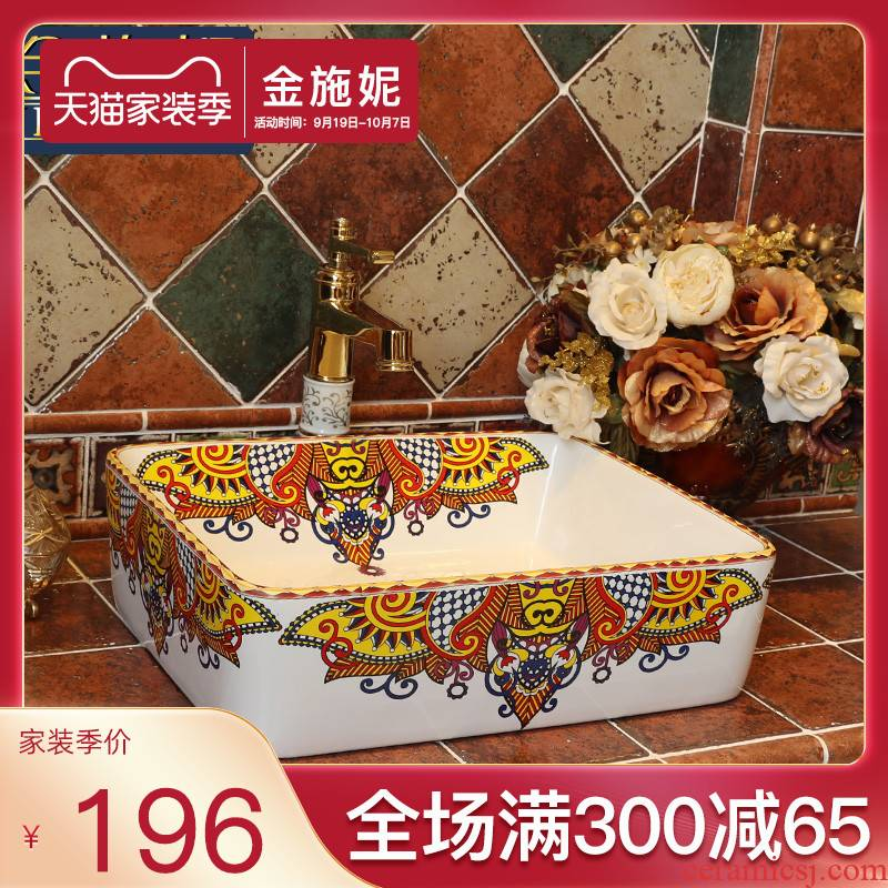Europe type restoring ancient ways on the ceramic basin sink household square toilet lavatory basin to the pool that wash a face of art creativity