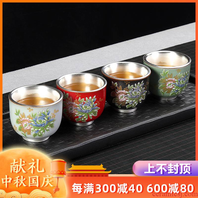 Artisan fairy hand - made coppering. As silver cup sample tea cup Japanese household ceramics cup kung fu master cup single cup size