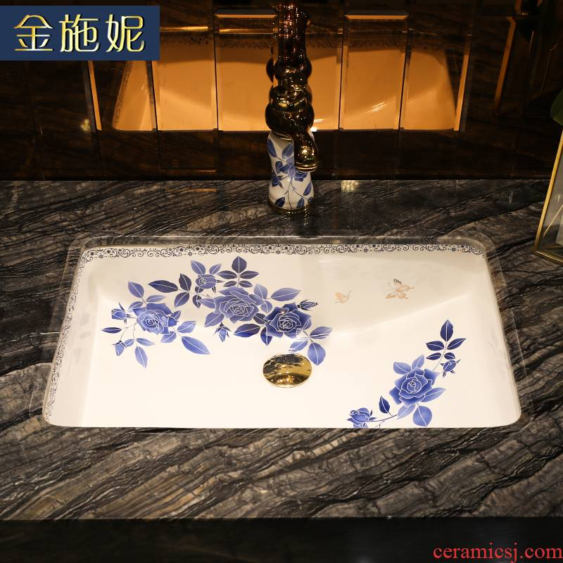 Chinese blue and white roses art ceramic undercounter sink size more embedded household laundry pool terrace