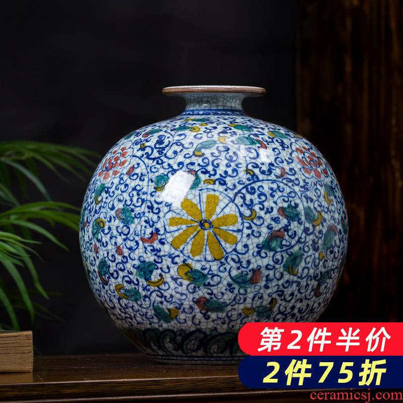 Jingdezhen porcelain hand archaize ceramic up vases, new Chinese style household living room TV ark adornment furnishing articles