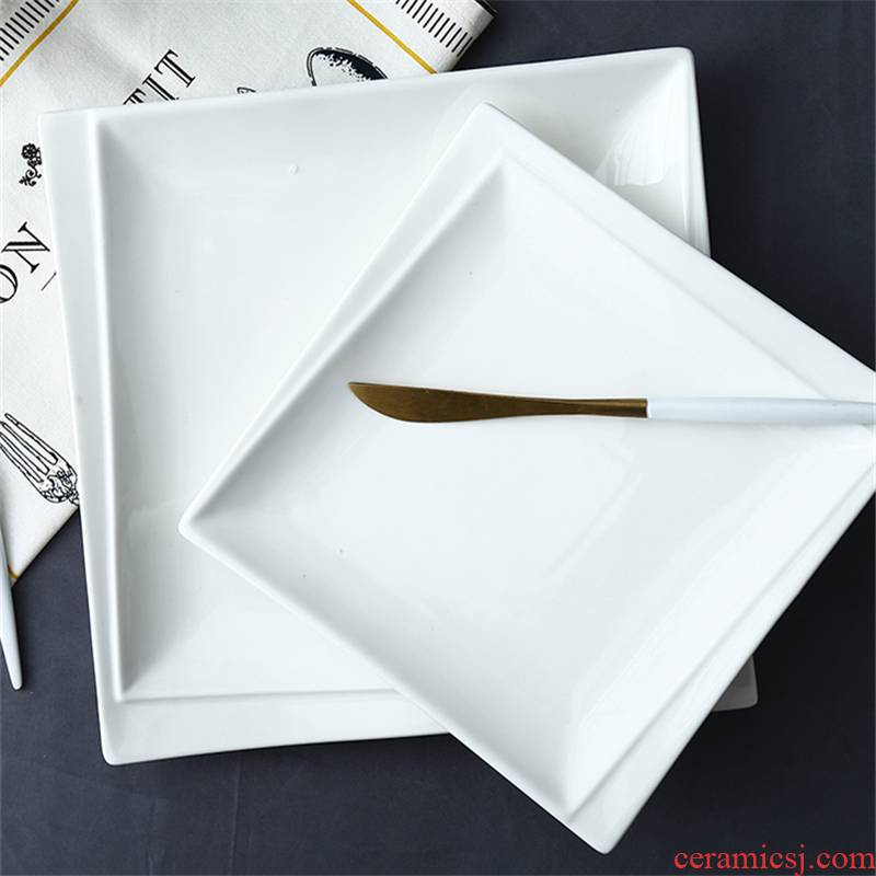 Creative western food dish white steak household food dish square plate flat ceramic flat plate western - style tableware