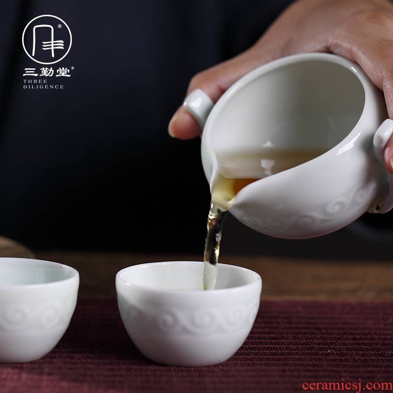 Kung fu tea set three frequently hall jingdezhen ceramic fair BeiYing green manual its tea tea cup and cup