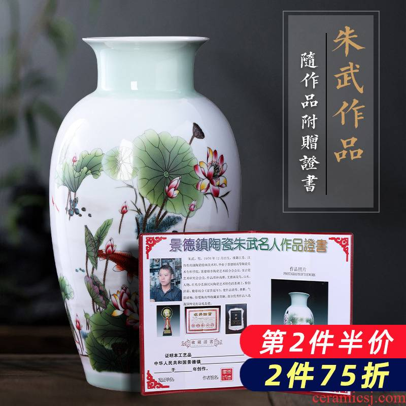 Jingdezhen porcelain ceramic famille rose flower arranging furnishing articles of new Chinese style household vase in the sitting room porch TV ark, adornment