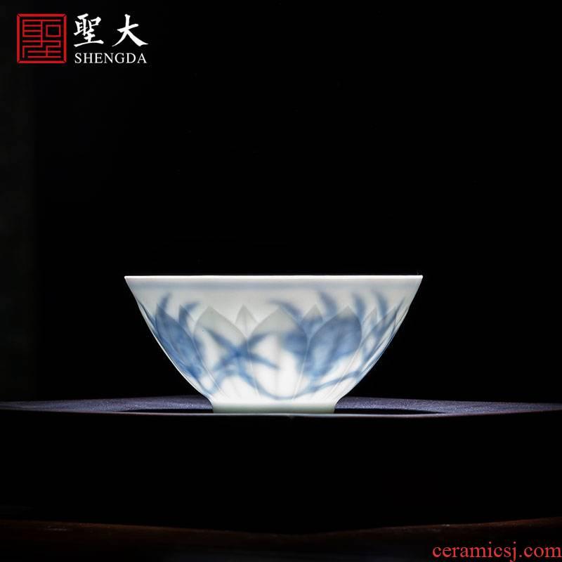 Santa teacups hand - made ceramic kungfu chenghua shadow violet petals blue okra grain hat to glass of jingdezhen tea service