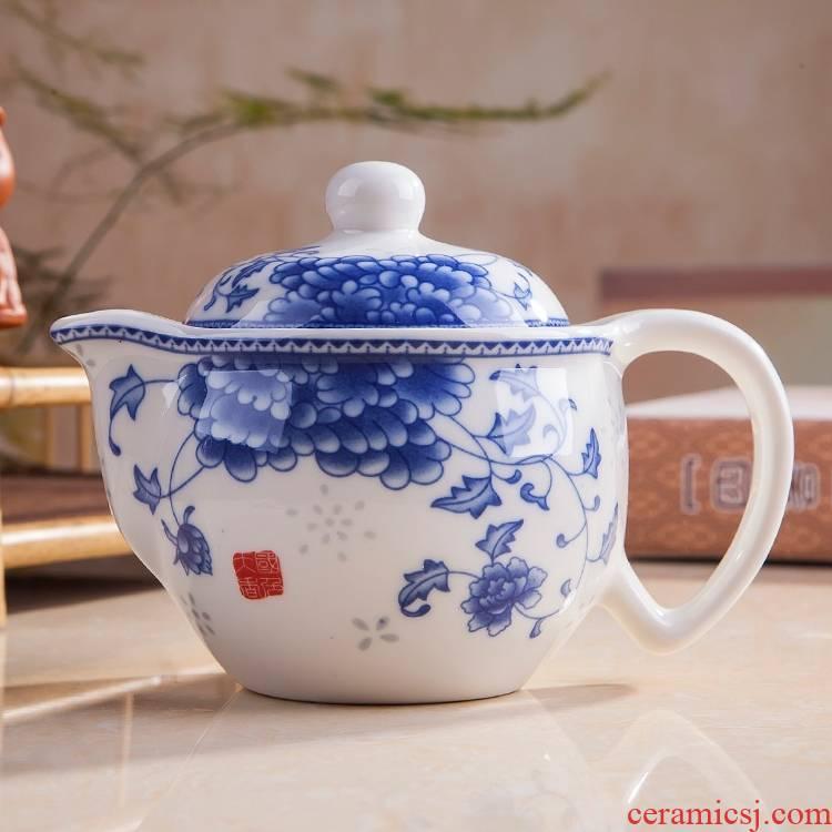 Jingdezhen ceramic teapot household kung fu tea set tea machine belt filter tea set small blue and white porcelain kettle