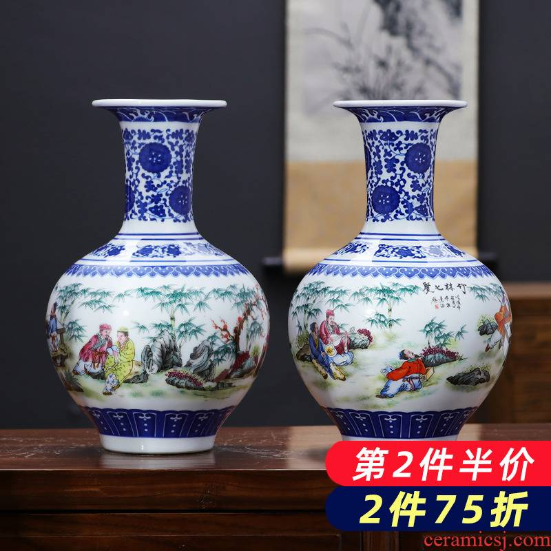 Jingdezhen porcelain ceramic blue and white porcelain vase furnishing articles sitting room of rich ancient frame wine flower arrangement of Chinese style household ornaments
