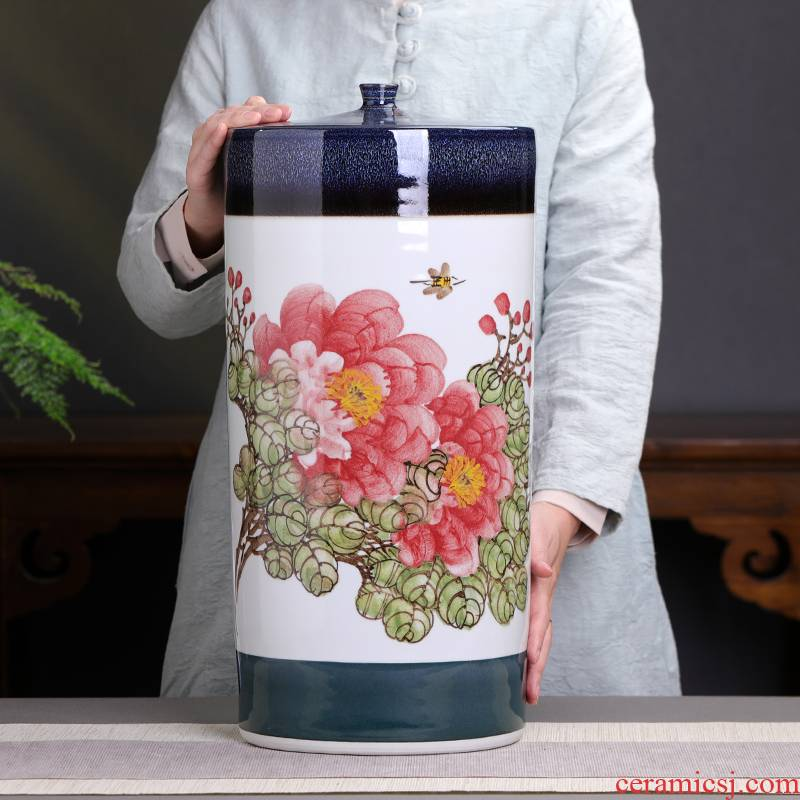 Jingdezhen hand - made peony grains storage tank ceramic barrel tea storage tanks with cover household extra large capacity