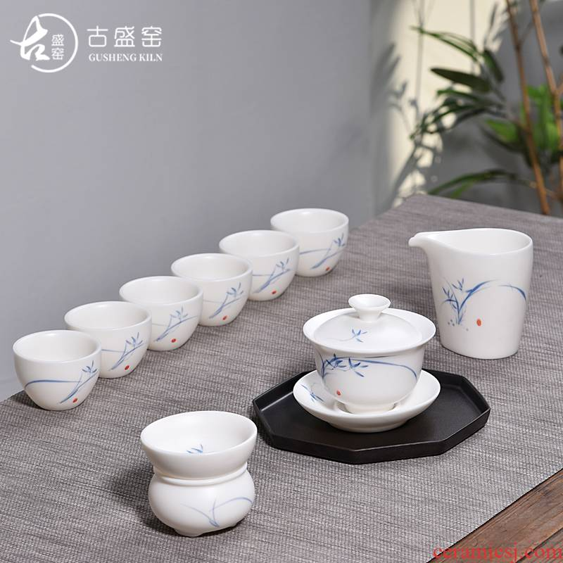 Ancient sheng up new six tureen jingdezhen blue and white porcelain white porcelain hand - made orchid suits for Chinese style household ceramics