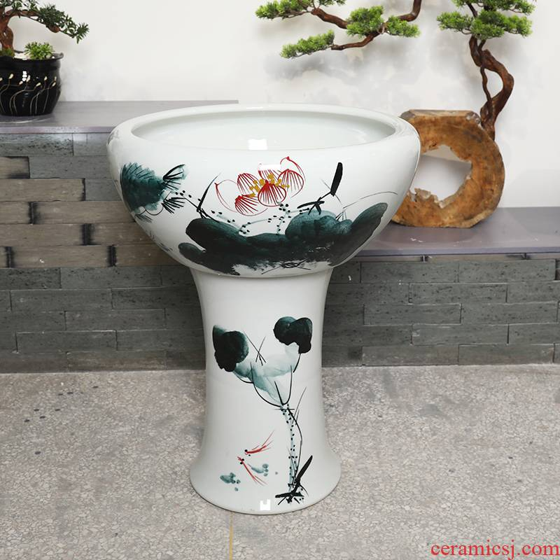 Jingdezhen ceramic floor pillar type tank oversized goldfish bowl lotus lotus feng shui is suing koi cylinder