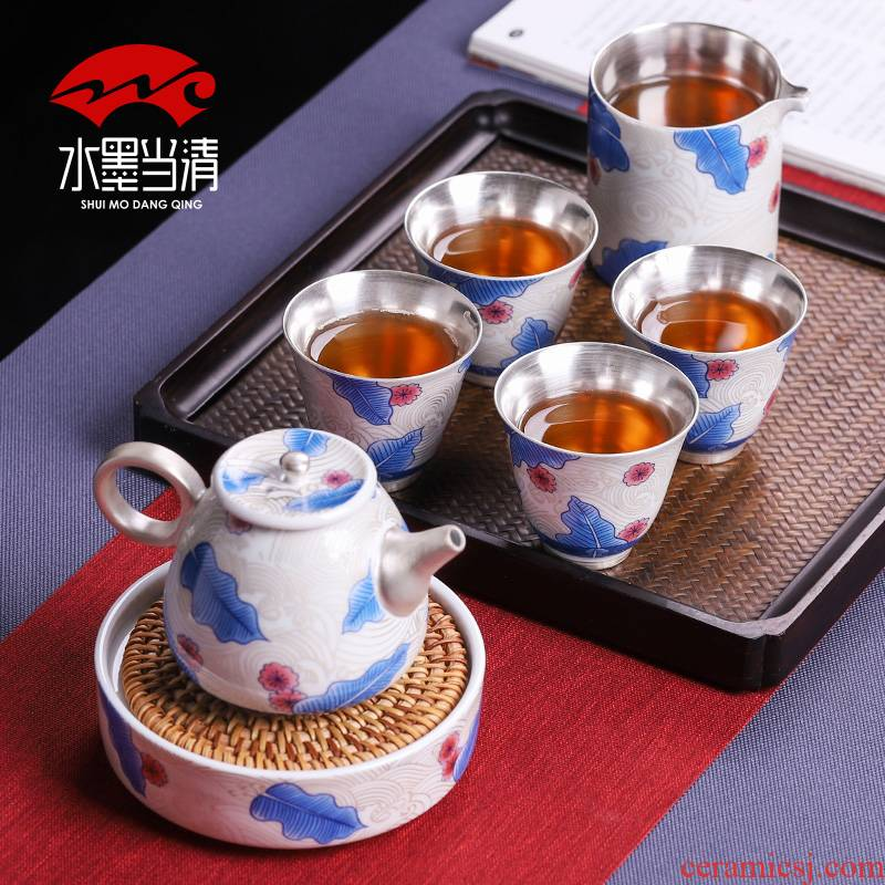 Tasted silver gilding kung fu tea set household silver teapot small ceramic cups a pot of four cups of high - grade gift box