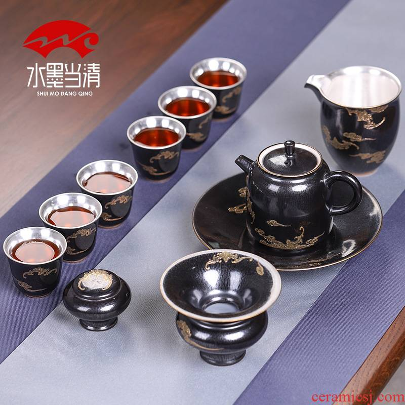 Tasted silver gilding kung fu tea set gift boxes silver restoring ancient ways of Chinese style household ceramics cup high - end office to receive a visitor