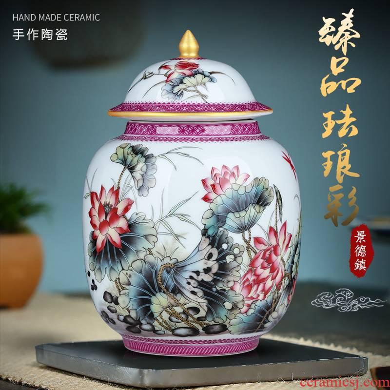 Jingdezhen ceramic tea pot archaize colored enamel snacks can wake pu 'er tea cake trumpet furnishing articles storage tank