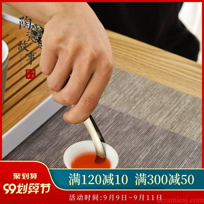 Ceramic story ChaGa kung fu tea set stainless steel parts make tea zen tea tweezers tool clamp single cups